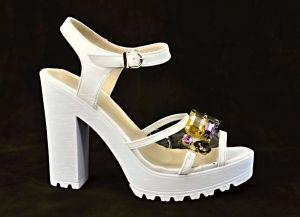 Zvětšit fotografii - Plesové sandálky Atibur na sloupkovém podpatku se třpytivou aplikací