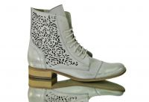 Kožené kotníkové šněrovací botky 866 Bílo-bežové