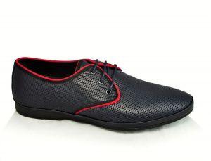 Kožená pánská obuv 100 moderní klasika, modrá, dírky