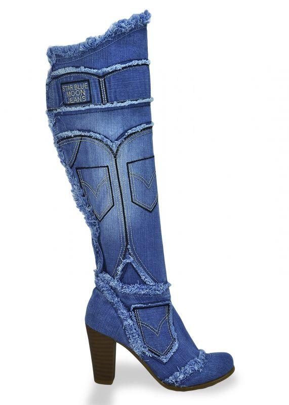 "kožená a atestovaná obuv Nadkolenní riflové kozačky 4031 s dekorativním šití ,,rifle"" Starbluemoon"