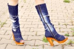 """kožená a atestovaná obuv Riflové kozačky 3860 s vykrojenou špičkou ,,peep toe"""" Starbluemoon"""