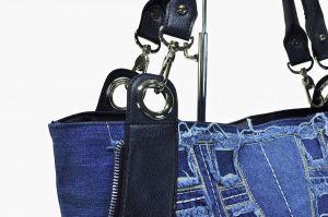 """kožená a atestovaná obuv Kabelka Jeans 8030 šití ,, rifle """" s delším uchem Facebag"""