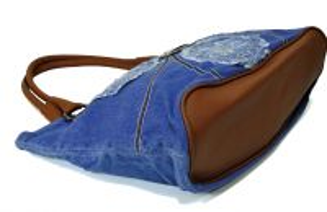 """kožená a atestovaná obuv Kabelka Jeans 8028 šití ,, rifle """" s delším uchem Facebag"""