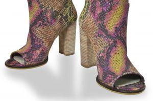 kožená a atestovaná obuv Letní kozačky na podpatku Snake Carlo mussi