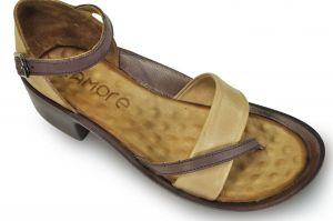 """kožená a atestovaná obuv Páskové sandálky Camore 222 s otevřenou špičkou ,,peep toe"""" , béžovohnědá"""