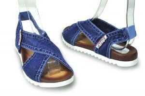 kožená a atestovaná obuv Riflové páskové sandálky Emani 18.12.55 na platformě
