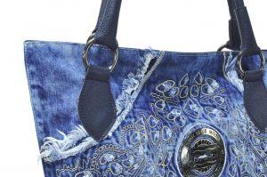 """kožená a atestovaná obuv Kabelka Jeans 8023A šití ,, rifle """" s delším uchem modrý Facebag"""