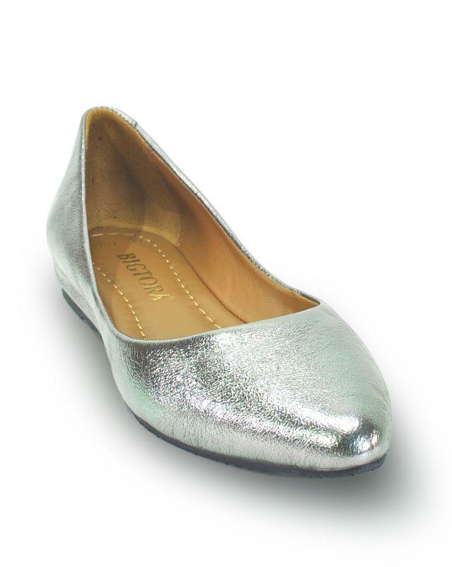 kožená a atestovaná obuv Kožené baleríny 041 střibrné Marcella