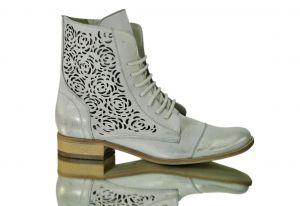 """Kožené kotníkové boty """"866"""" Bílo-stříbřité nebo zlatavé"""