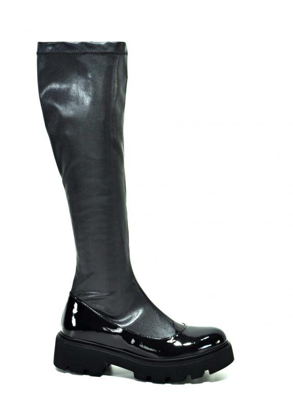 kožená a atestovaná obuv Kožené kozačky 224 na širokém podpatku se zipem Corta Mussi