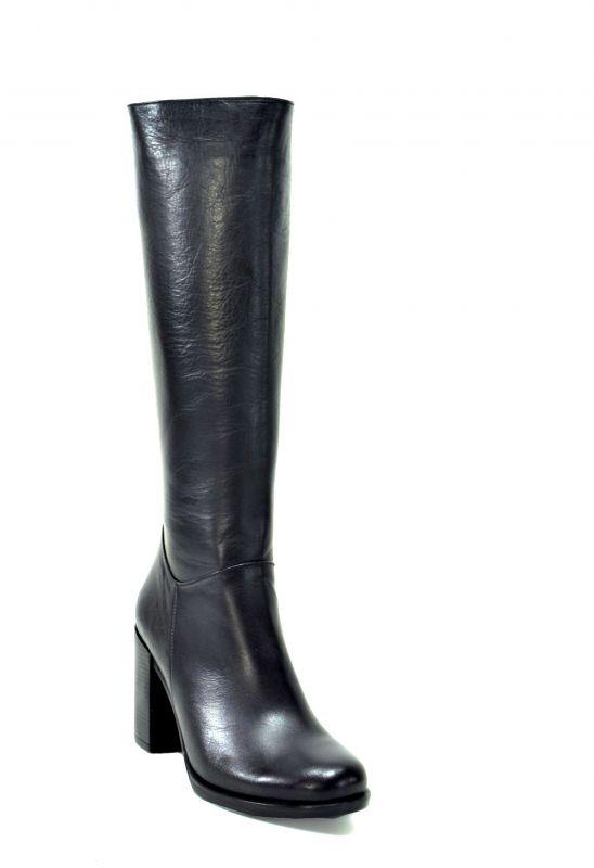 kožená a atestovaná obuv Kožené kozačky na sloupkovém podpatku 615-1, černé Carlo mussi