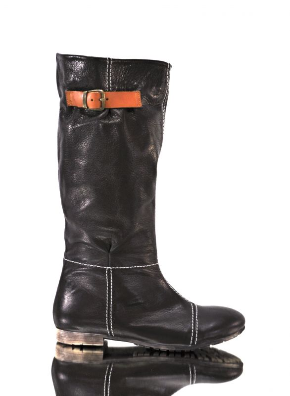 kožená a atestovaná obuv Kožené kozačky nazouvácí, C 3200 matné černé Di Lusso Italy