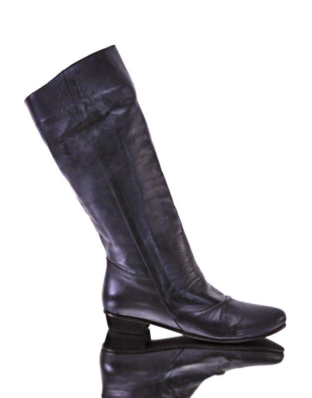 kožená a atestovaná obuv Kožené kozačky nazouvácí, C 6600 matné černé Di Lusso Italy