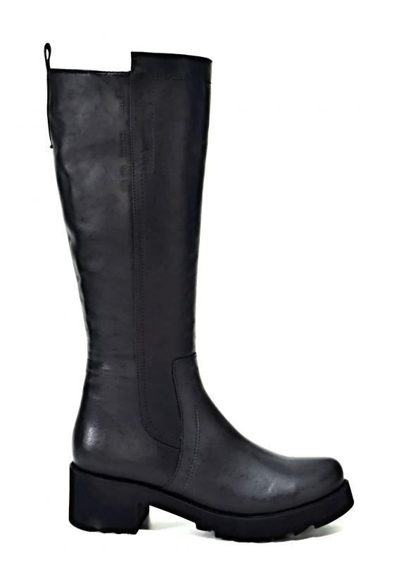 kožená a atestovaná obuv Kožené zimní kozačky 1514, na širokém podpatku, černé