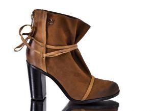 Kožené kotníkové boty na podpatku B.3359 Hnědé