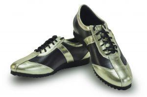 kožená a atestovaná obuv Kožené tenisky CheBello 494, zlatočerné