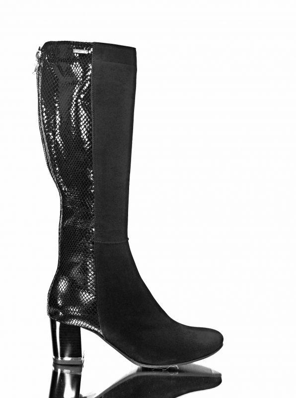 kožená a atestovaná obuv Luxusní kozačky na podpatku EXCLUSIVE černé Exquisite