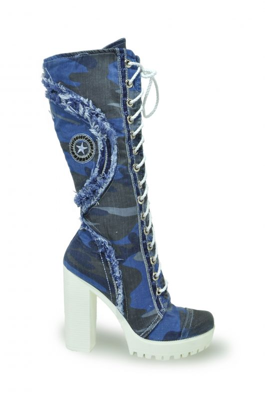 kožená a atestovaná obuv Luxusní riflové kozačky 4039 Starbluemoon