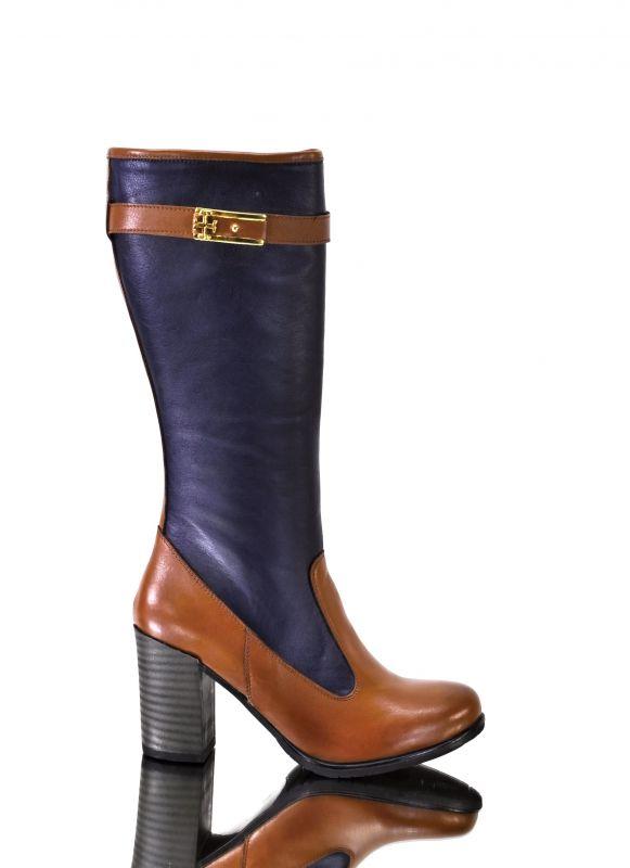 kožená a atestovaná obuv Podzimní kožené kozačky 9006 na sloupkovém podpatku, hnědo modré My Lisa