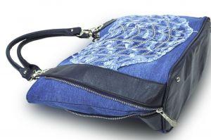 """kožená a atestovaná obuv Kabelka Jeans 8033 šití ,, rifle """" s delším uchem modrý Facebag"""