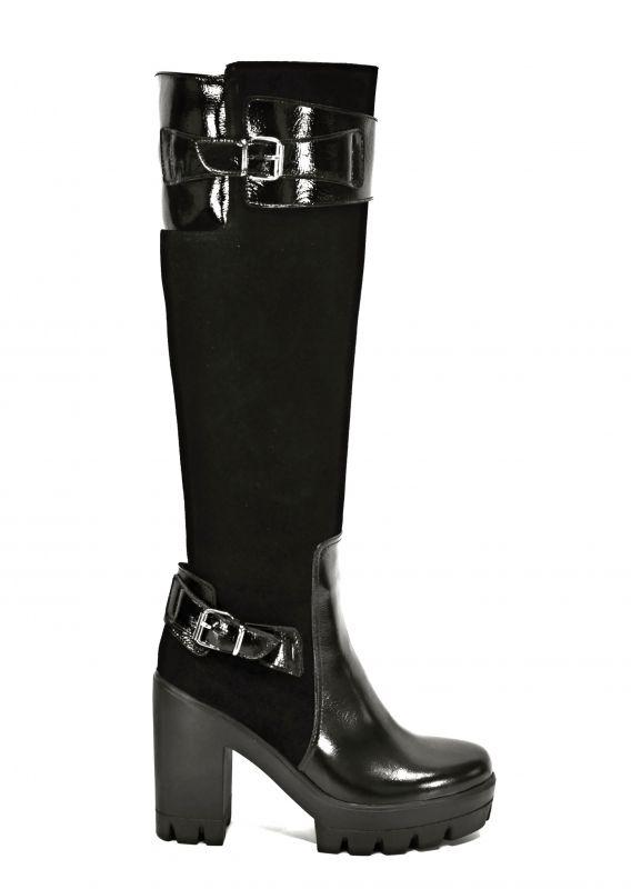 kožená a atestovaná obuv Luxusní kozačky na podpatku 5549,black Di Lusso Italy