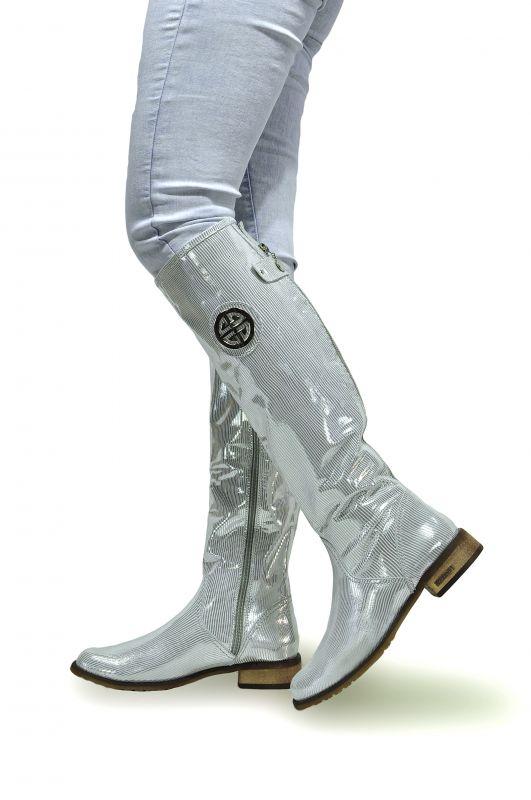 kožená a atestovaná obuv Nepromokavé kozačky 0-11 s dvojkombinací zipu v stříbrné lakované barvě Roberto