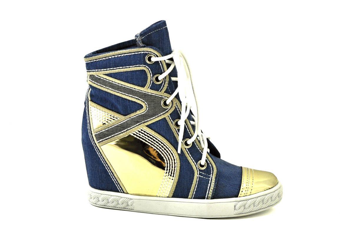 kožená a atestovaná obuv Riflové kotníkové botky 5082 šněrování na klínu golden Starbluemoon