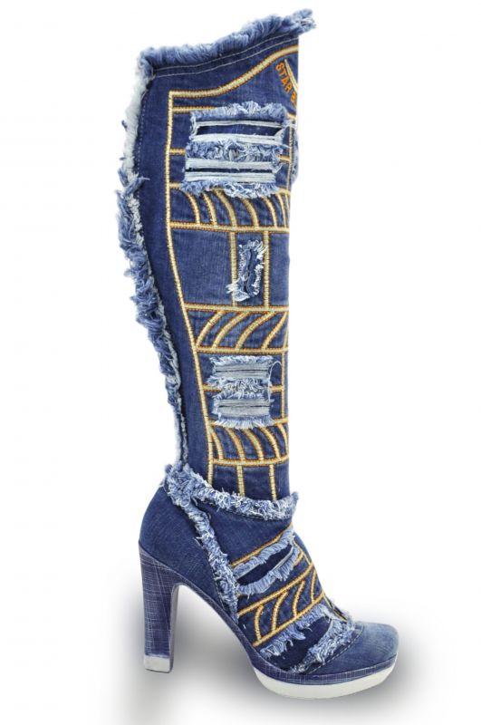 kožená a atestovaná obuv Riflové kozačky 2220 se zdobení dekorativní třásně  Starbluemoon 01f9863932