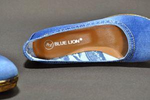 kožená a atestovaná obuv Riflové lodičky na klínu 85-46 Goergo