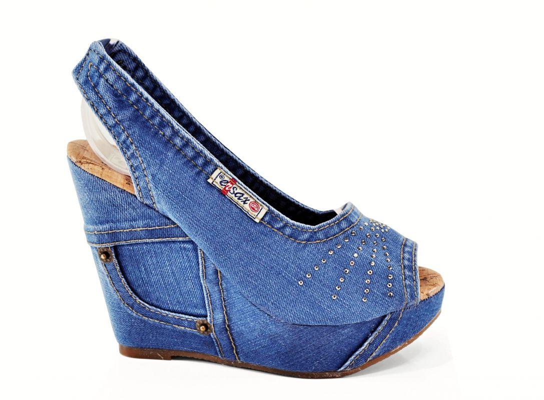 kožená a atestovaná obuv Riflové páskové sandálky Ersax 1040 na klínu