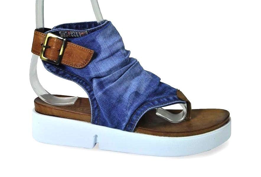 kožená a atestovaná obuv Riflové páskové sandálky Ersax 2014 P11 na zápatí s bílou platformou