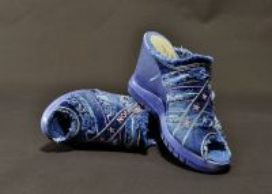 kožená a atestovaná obuv Riflové sandálky Starbluemoon 452 na klínu a platformě