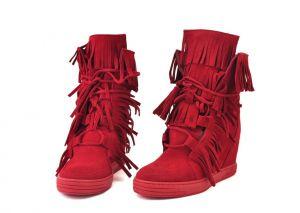 kožená a atestovaná obuv Červené kotníčkové semišové sneakersy 506 na skrytém klínu Roberto