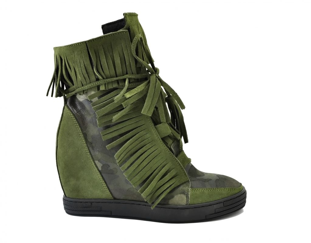 kožená a atestovaná obuv Zelené kotníčkové semišové sneakersy 506 na skrytém klínu Roberto