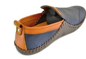 kožená a atestovaná obuv Panské kožené mokasíny 41121 Modrohnědé kombinací Thunderhead