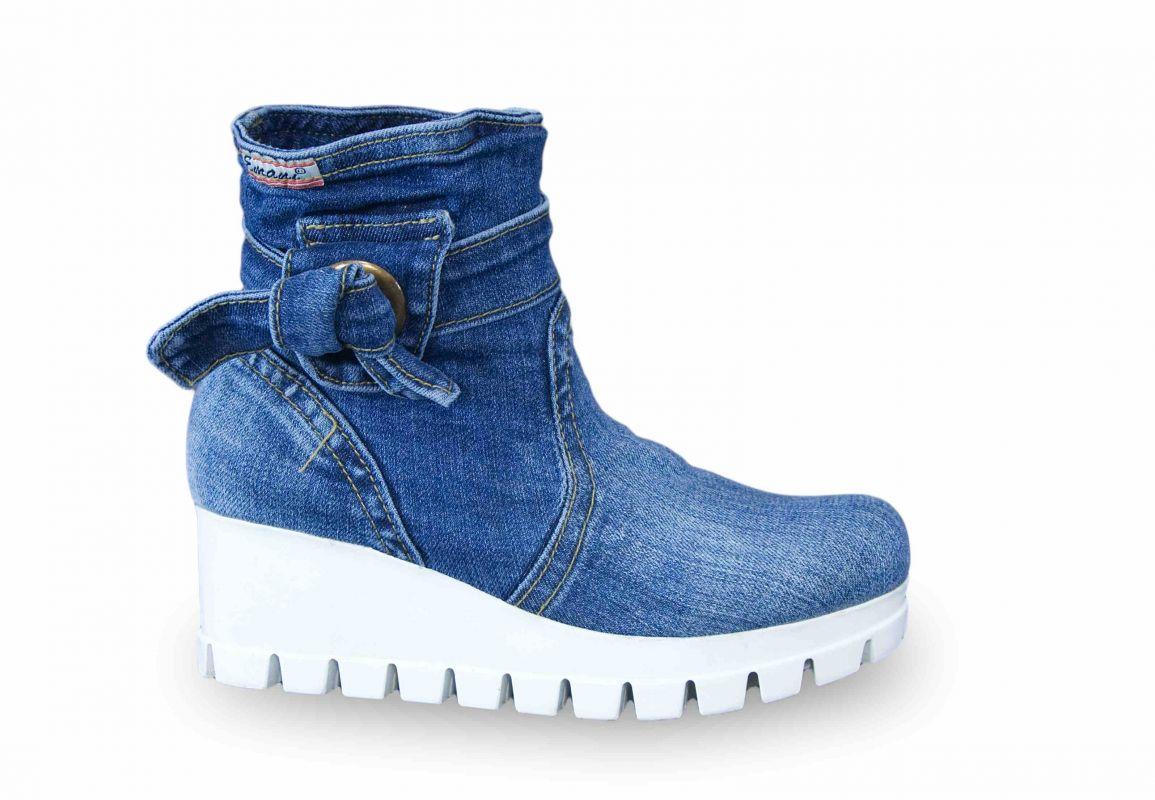 kožená a atestovaná obuv Riflové kotníkové boty 0809-7211 na bílé platformě Emani