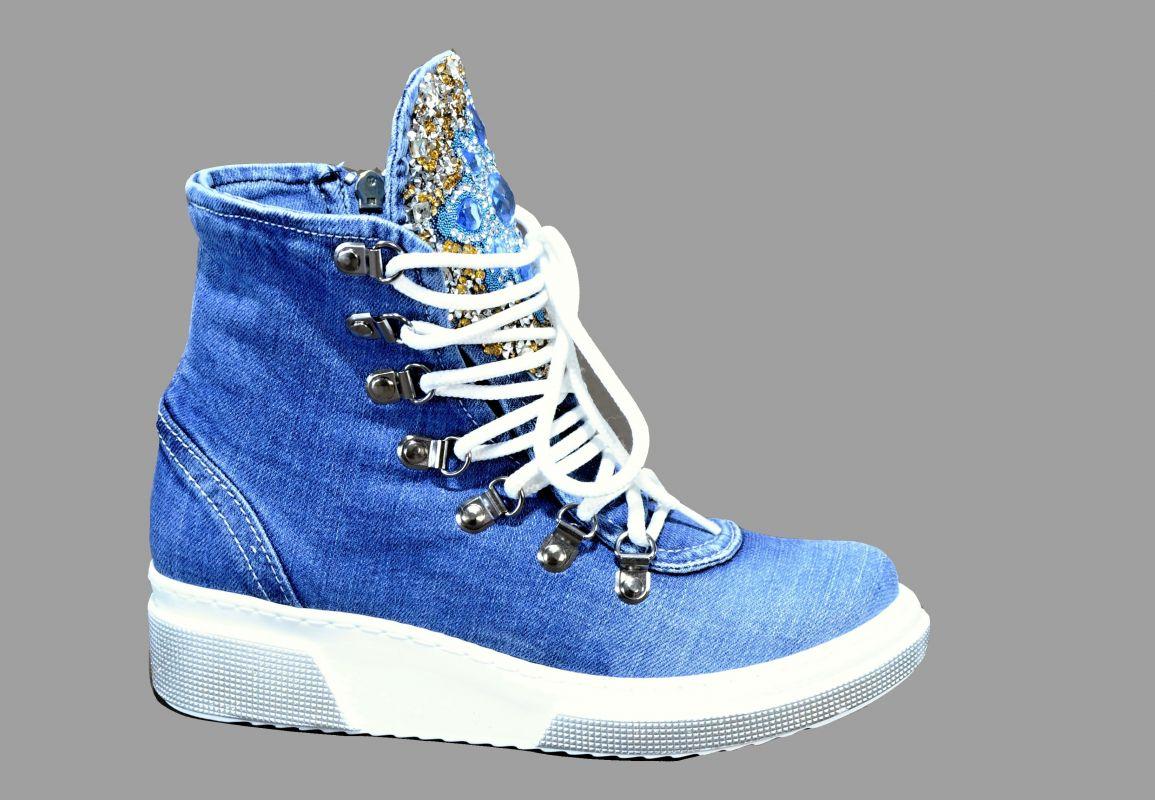 kožená a atestovaná obuv Riflové kotníkové tenisky 5083 na platformě Starbluemoon