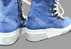 kožená a atestovaná obuv Riflové kotníkové tenisky 5083 na platformě Erdo