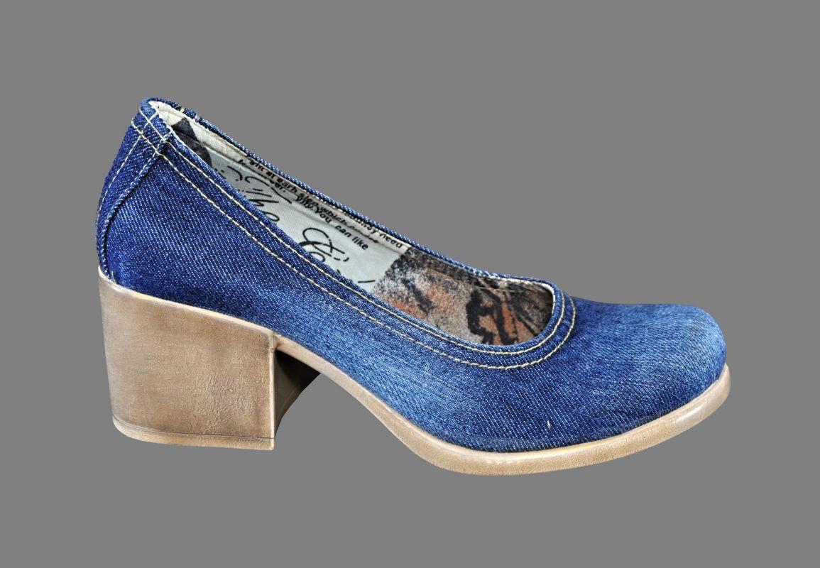 kožená a atestovaná obuv Riflové lodičky Blue Lion 502.Y2 na sloukovitém podpatku