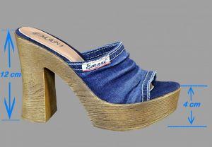 kožená a atestovaná obuv Riflové pantofle 07.10.17613 na sloukovitém podpatku Emani