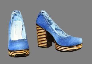 kožená a atestovaná obuv Riflové lodičky Marcella 1-1-37 na sloukovitém podpatku Blue Lion