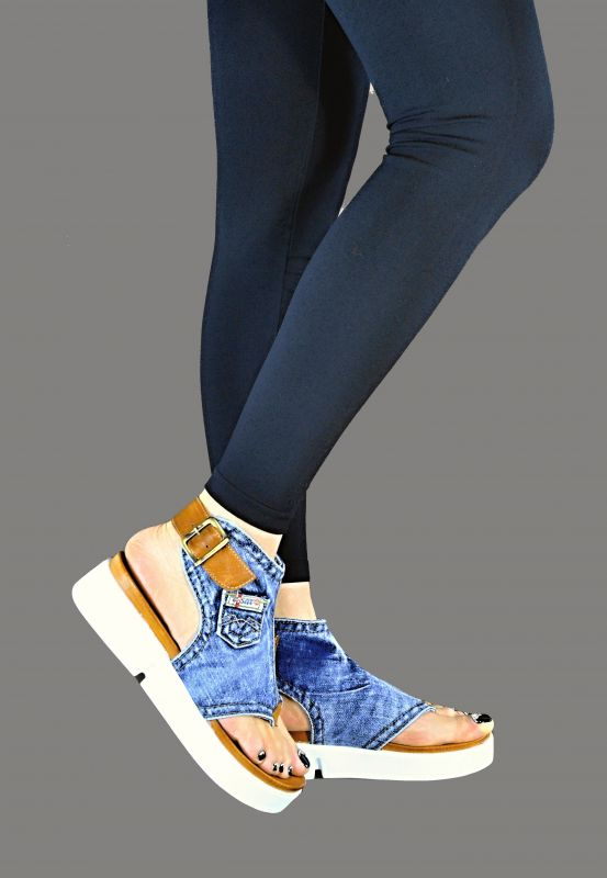 kožená a atestovaná obuv Riflové páskové sandálky Ersax 1036 na zápatí s bílou platformou