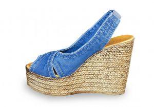 kožená a atestovaná obuv Riflové páskové sandálky Ersax 1058.B4 s otevřenou špičkou na klínu