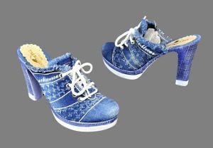 kožená a atestovaná obuv Riflové sapo 609 na sloukovitém podpatku Starbluemoon