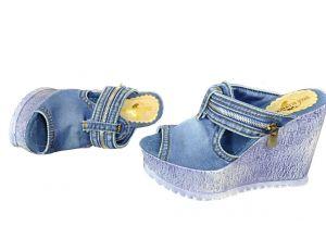 """kožená a atestovaná obuv Riflové sandálky """" StarBluemoon"""" 934 na klínku"""