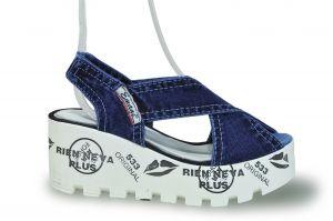 kožená a atestovaná obuv Riflové páskové sandálky Ersax 20.12.533 na potištěné platformě Emani