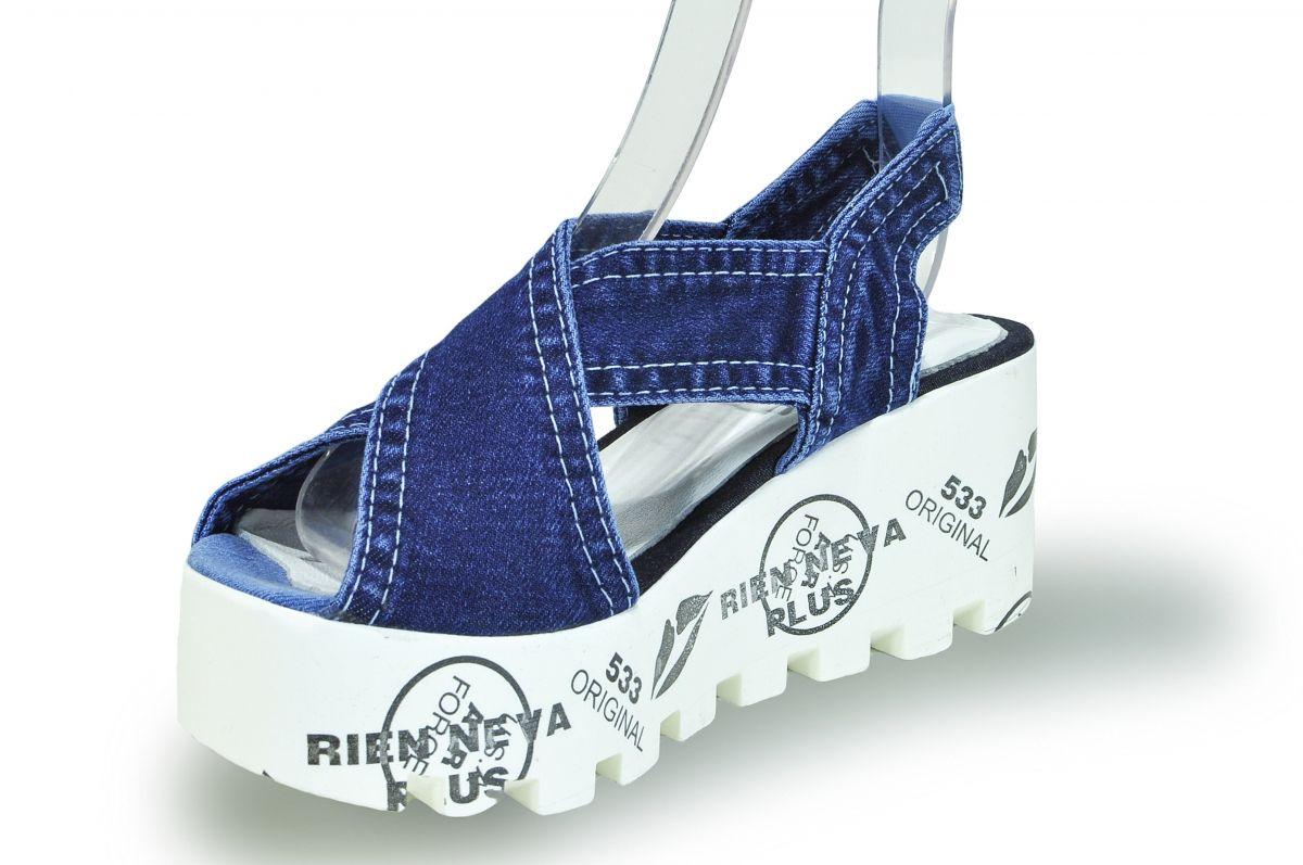 ba7104a762f1 kožená a atestovaná obuv Riflové páskové sandálky Ersax 20.12.533 na  potištěné platformě Emani
