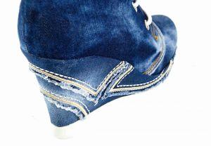 kožená a atestovaná obuv Kotníčkové džínové boty 5001 na klínku Ermani