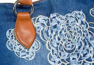 """kožená a atestovaná obuv Kabelka Jeans 7399 šití ,, rifle """" s delším uchem Facebag"""