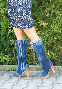 kožená a atestovaná obuv Luxusní riflové kozačky 5010 Starbluemoon